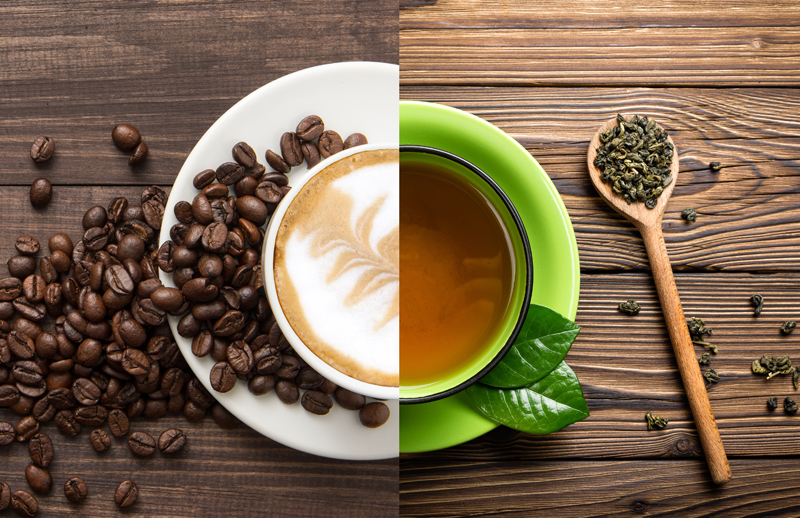 comparativo entre café y té verde